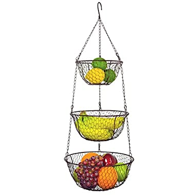 MyGift® 3 Tier Chain Hanging Space Saving Rustic Country Style Chicken Wire Fruits / Produce / Plants Storage Baskets