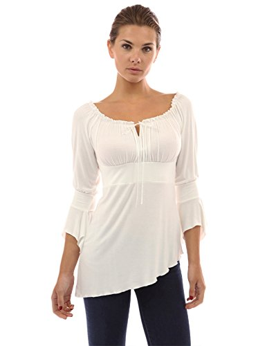 PattyBoutik Cute Off Shoulder Bell Sleeve Blouse Top,Ivory,Small