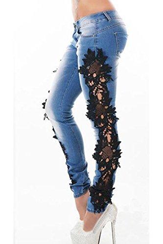 Jeans Moulants Zojuyozio Vider Des Lace Pantalon Patchwork Femmes Noir Pantalon qSTwHa