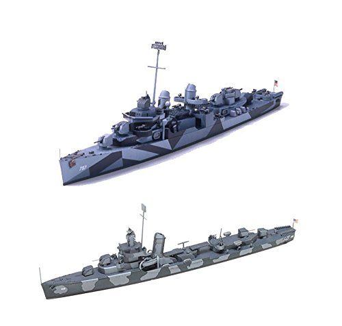 (2 Tamiya Ship Models of US Navy Destroyers - DD-797 Cushing and DD412 Hammann (Japan Import) )