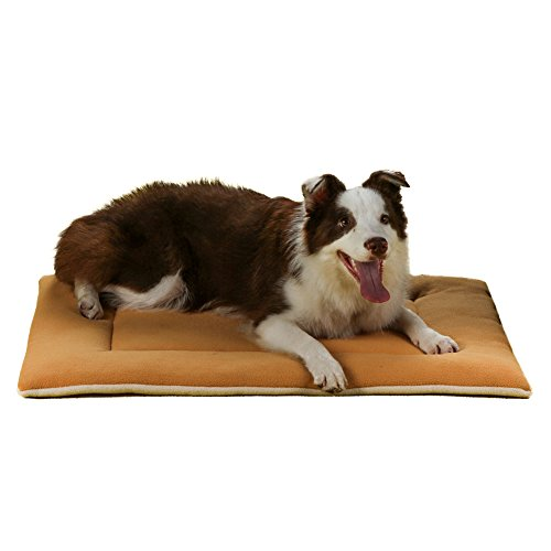 Dog Bed Mat,QIAOQI Crate Kennel Orthopedic Pad Car Seat Cover Mattress Cushion Sleeping Soft Floor Beds Medium Khaki (Car Kennels For Dogs)