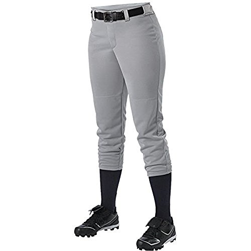 Alleson Ahtletic Women's Fast pitch Softball Belt Loop Pants, Grey, Large