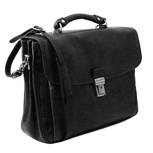 Leather Nero Tuscany Compact A Spalla Donna Borsa vZqTdw