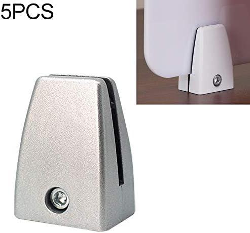 ホームデコレーション 5 PCS平坦な形状のアルミ合金オフィスデスクトップ画面固定クリップパーティションクリップ(シルバー) 家具の足