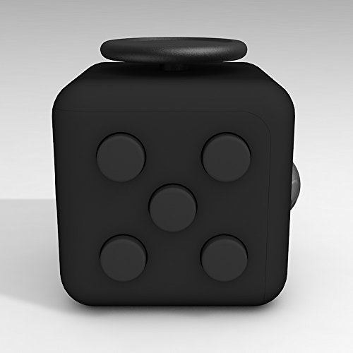 D-JOY Cube Fidget Toy Cube Relieves Stress and Anxiety Attention Toy for Work, Class, Home (Black)
