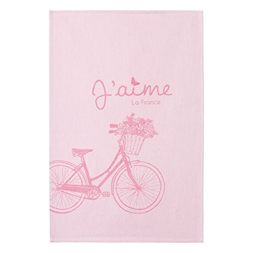 COUCKE French Jacquard Cotton Kitchen Dish Towel Paris Collection, Bicycle, 20-Inches by 30-Inches, Pink