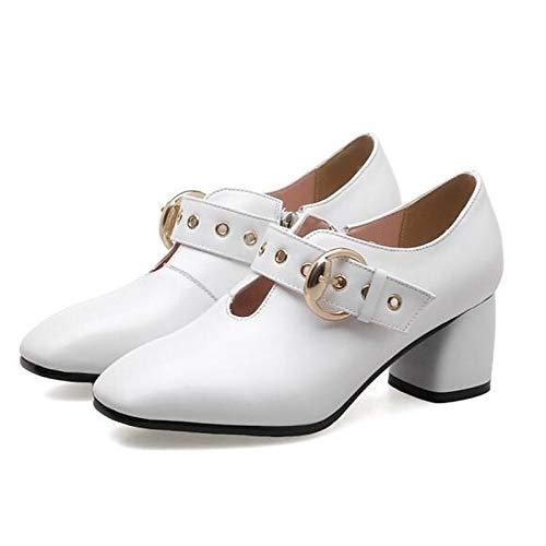 para Mujer de Tacón Blanco Nappa Grueso Tacones Negro Cuero White ZHZNVX Primavera Beige cómodos de x4nAqPz08