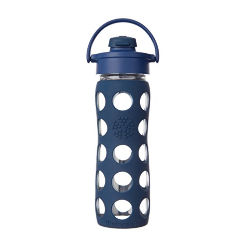 Lifefactory 16-Ounce BPA-Free Glass Water Bottle with Flip Cap and Silicone Sleeve, Midnight Blue