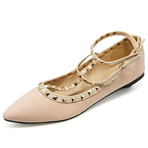 Samsay Mujeres Basic Puntiagudo Del Pie Del Resbalón En Ballet Zapatos Planos De Color Rosa Con Tachuelas