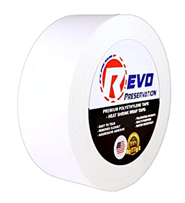 "REVO Preservation Tape / Heat Shrink Wrap Tape (2"" x 60 yards) MADE IN USA (WHITE) Poly Tape - Electrical Tape - Boat Storage Tape (PINKED EDGE) SINGLE ROLL (ECONOMY: 7.5 MIL THICKNESS)"
