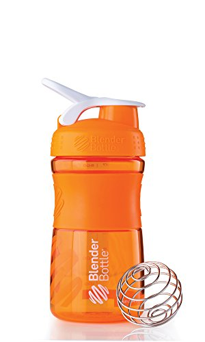 BlenderBottle SportMixer Tritan Grip Shaker Bottle, Orange/White, 20-Ounce