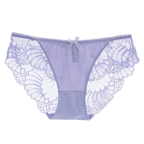 Zhhlinyuan Alta calidad Casual Ladies Hipster Panty Skin-friendly Underwear Lace Seamless Lingerie Low Waist Multicolor Light Purple