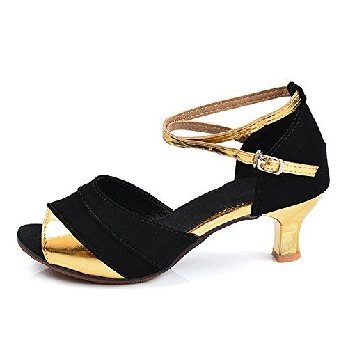 Womens Blusset Hæl Sandaler Pumper Ballroom Latin Dans Sko Utendørs Sorte  Gull. sko; syntetisk; importert; gummisåle; faux suede innersåle ...