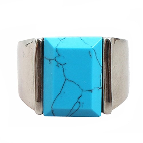 PAURO Men's Stainless Steel Square Gem Stone Turquoise Ring with Polished Silver Side Green Size 7