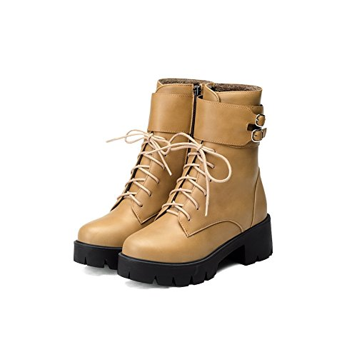 Closed Material Adornment AmoonyFashion Toe Round Women's with Boots Solid Yellow Soft CPww4Bxq