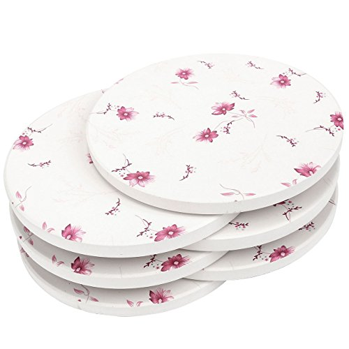 WarmHut 6-Piece Absorbent Ceramic Coaster Set for Drinks, Desktop Protection Prevent Drink Spills Place Mats, Non-Skid Special Decoration Coasters(Round,Pink Floral) ()