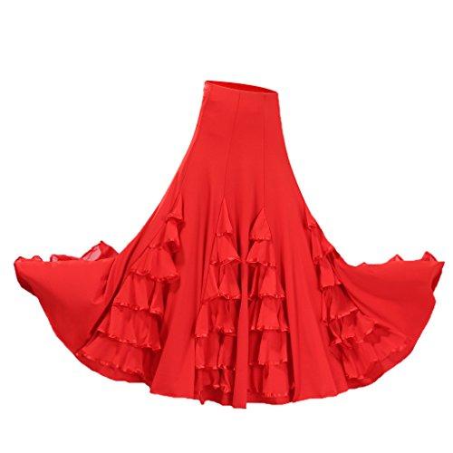 Mujer Cintura Tango Latino Baile Falda Alta De Rojo Volante Para Magideal Larga Vestido Regalo Flamenco qRZtUxOq