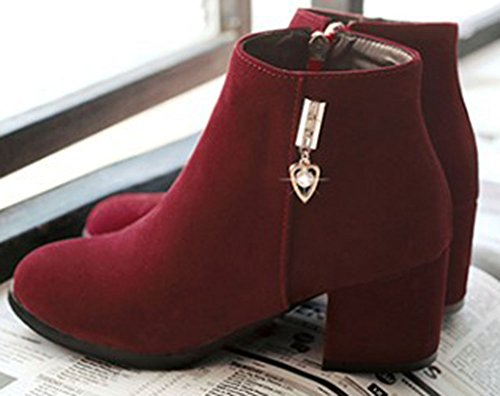 Easemax Women's Fashion Faux Suede Zip Up Round Toe Mid Chunky Heel Ankle High Boots Wine Red i2t1zXBzf