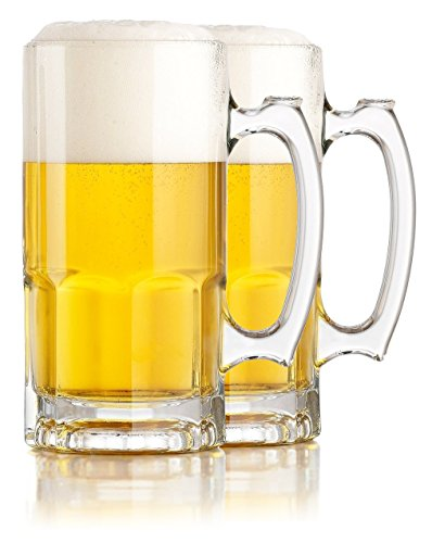 Hikari One Liter German Style Extra Large Glass Beer Stein Super Mug, 34 Ounce (2 -