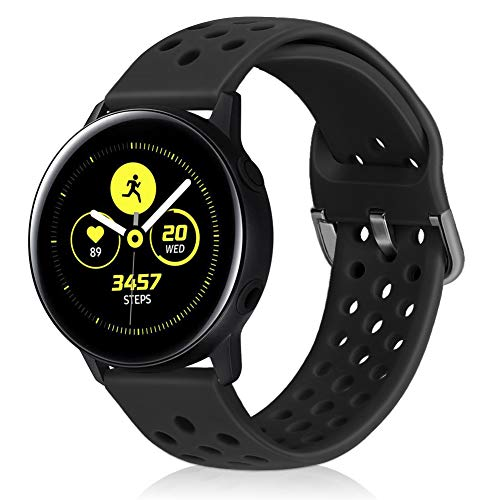 XFYELE Silicone Soft Rubber 20mm 22mm Quick Release Replacement Watch Band Compatible with Samsung/Huawei/Ticwatch/Garmin/Moto for Men and Women (Black, 22mm) (Silicon Pebble Band Watch)
