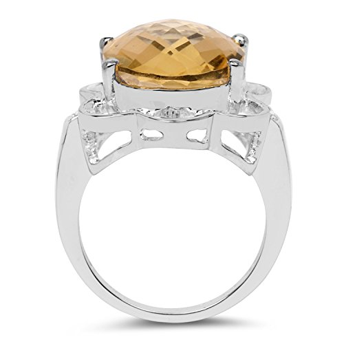 Johareez 10.42 cts Citrine White Topaz .925 Sterling Silver Rhodium Plated Ring for Women