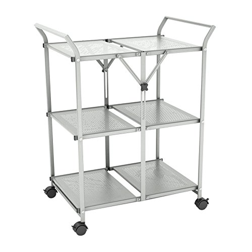 Dar 3-Shelf Folding Cart with Handle, Moon Mist