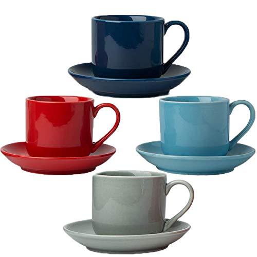 4oz. Espresso Cups Set of 4 with Matching Saucers - Premium Porcelain, 8 Piece Gift Box Demitasse Set - Red, Blue & Grey - Italian Caffè Mugs, Turkish Coffee Cup - Espresso Piece 8 Set