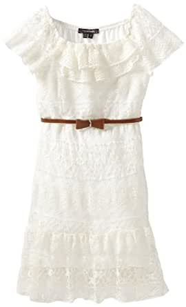 My Michelle Big Girls' Lace Belted Dress, Ivory, 8