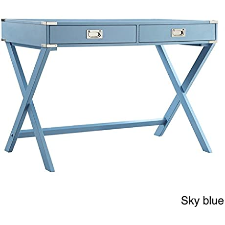 Sky Blue INSPIRE Q Kenton X Base Wood Accent Campaign Writing Desk MDF Wood Assembly Required 30 Inches High X 42 Inches Wide X 24 Inches Deep Order Now With E Book Gift