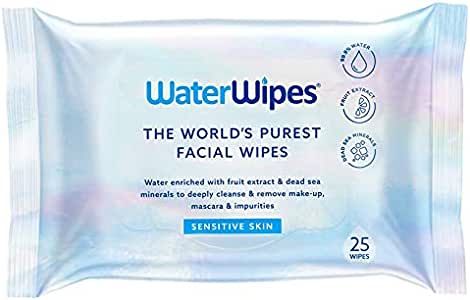 WaterWipes Sensitive Facial Wipes, 25 count