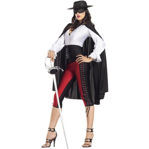 [Be Wicked Sexy Bandit Costume, Red/Black/White, Medium/Large] (Sexy Bandit With Hat Costumes)
