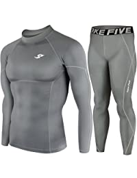 Mens Sports Compression Base Layer Skin Tights Long Sleeve Top & Pants Gray SET