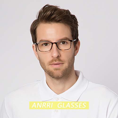 ANRRI Blue Light Blocking Glasses for Computer Use, Anti Eyestrain Headache UV Filter Gaming Eyeglasses Lightweight Frame, Tortoise, Man/Women by ANRRI (Image #2)