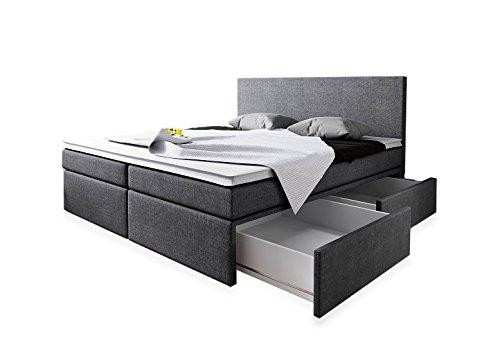 Wohnen Luxus Boxspringbett 180x200 Mit Bettkasten Grau Stoff