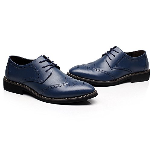 Rismart Brittisk Stil Mens Mode Pekade Tå Oxfords Brogue Klänning Läderskor Marinen 856 Us9.5