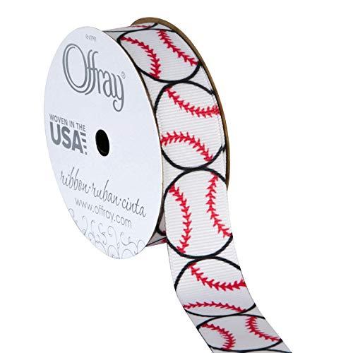 (Offray Grosgrain Sports Craft Ribbon, 7/8-Inch x 9-Feet, Baseball)