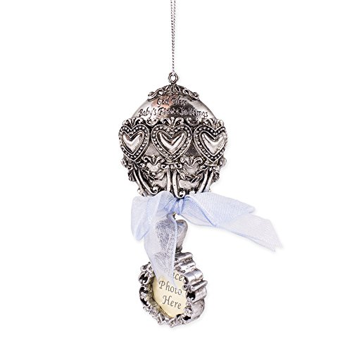 Baby's First Christmas God Bless Silver Rattle Ornament with Blue Ribbon and Place for Photo (God Rattle)