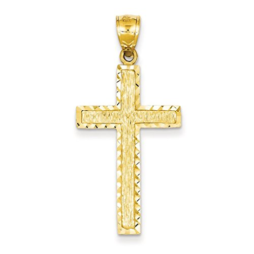 14K Yellow Gold Diamond-cut Cross Pendant - (1.61 in x 0.79 (Solid Yellow White Gold Cross)