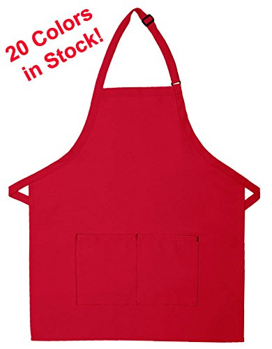 Commercial Quality 65/35 Poly/Cotton 2-Pocket Adult Aprons with Extra Long Ties, Adjustable Neckstrap, Washable. Stain Resistant Fabric 28