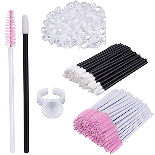 (200pcs Disposable Tattoo Nail Art Glue Ring Holder Caps,100pcs Disposable Mascara Brushes Eye Lash Brushes,100pcs Lipstick Applicators Makeup Artist kit)