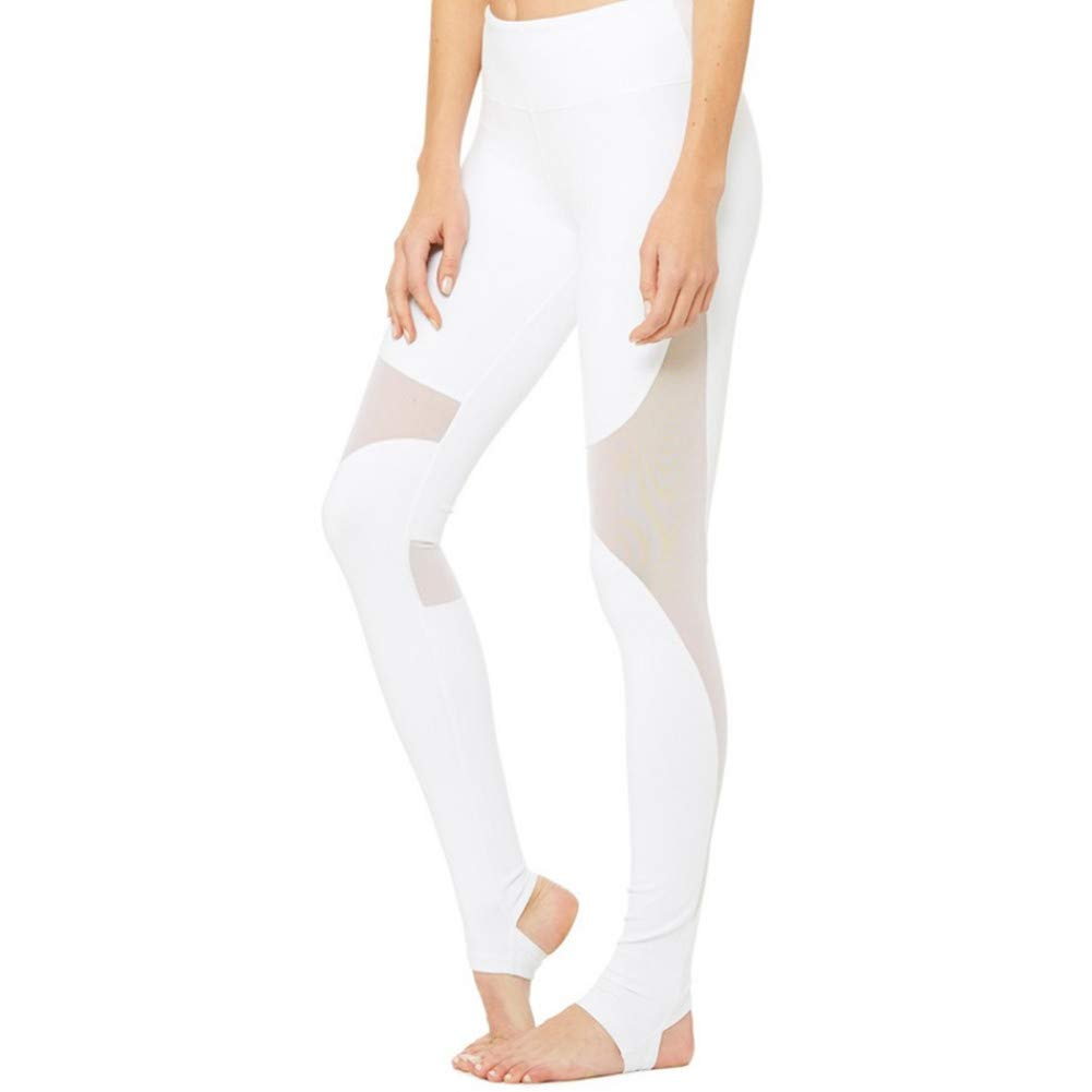 blanc L Dongqilai engrener Patchwork Sports Leggings Fitness Yoga Pants FonctionneHommest Tights Gym Clothing Sportswear Trousers Leggins