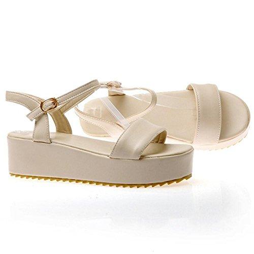 apricot Flatform Shoes TAOFFEN Women's Sandals pZvnOq