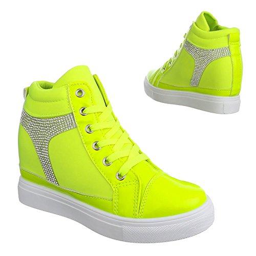 Ital-Design Damen Schuhe, 6-2, Freizeitschuhe Keil Sneakers Neongrün