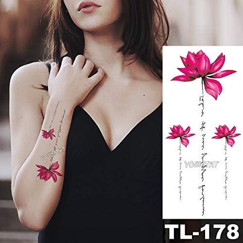 tzxdbh DIY Lindo 3D Rosa Roja Pegatinas Temporales del Tatuaje ...