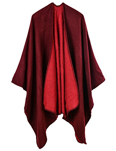 ADOMI Womens Winter Elegant Reversible Oversized Blanket Poncho Cape Shawl Cardigans Wine red