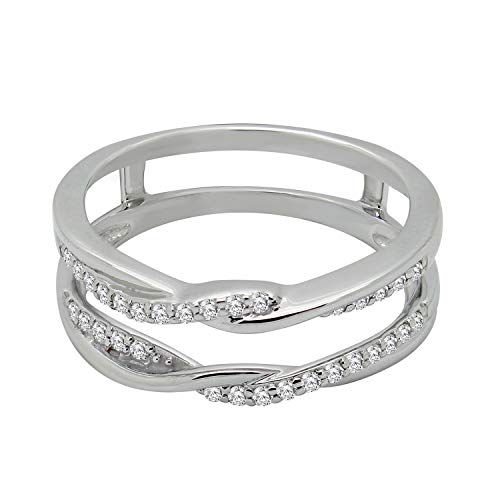OMEGA JEWELLERY 1/4 ct Round Cut Diamond 10K White Gold Anniversary Wedding Enhancer Guard Wrap (Omega Diamond Ring)