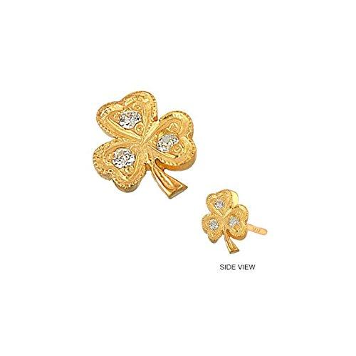 - Mini Mini Jewels 14k Yellow Gold Adorable Diamond Accented Lucky Clover Shamrock Earrings