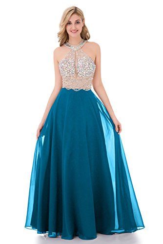 Ball Gown Scoop Neck - YuNuo Sparkly Crystal Beading Prom Dresses Long 2019 Sexy Open Back Party Ball Gown Scoop Bridesmaid Dresses Lake Blue-US4