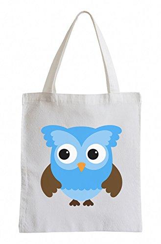 Raxxpurl Blue Owl Fun Jutebeutel