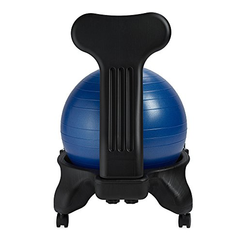 Gaiam Classic Balance Ball Chair – Exercise Stability Yoga Ball Premium Ergonomic Chair for Home and Office Desk with Air Pump, Exercise Guide and Satisfaction Guarantee, Blue by Gaiam (Image #9)